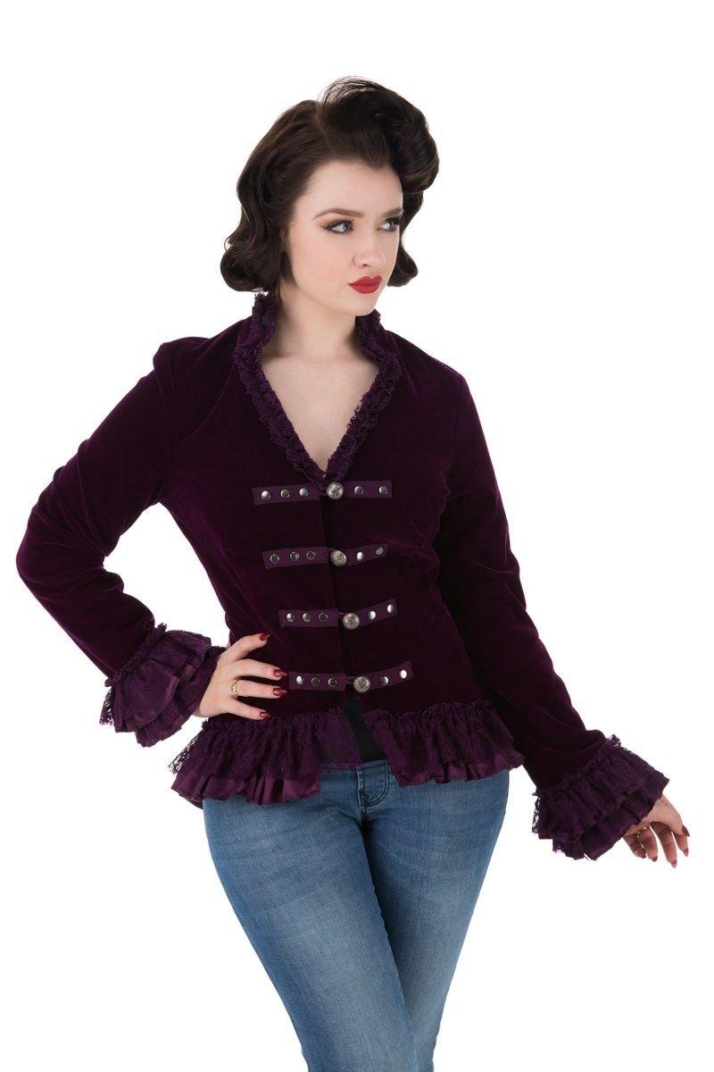Lady's Pirate Captain Purple Velvet Corset Back Jacket - DeluxeAdultCostumes.com
