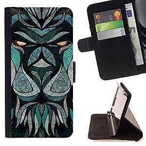 Dragon Case- Caja de la carpeta del caso en folio de cuero del tir¨®n de la cubierta protectora Shell FOR Samsung Galaxy S4 IV I9500 i9508 i959- Lion Heart Patter