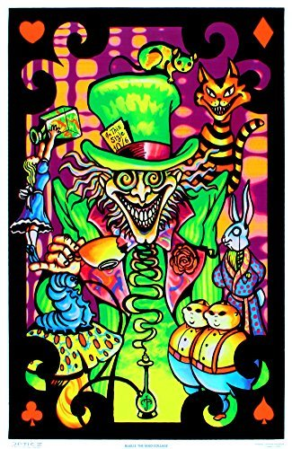 Alice in Wonderland Mad Hatter Collage Flocked Blacklight Poster Art Print 23 x 34in