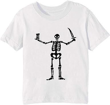 Negro Paño Pirata Bandera Blanco Esqueleto Niños Unisexo Niño Niña Camiseta Cuello Redondo Blanco Manga Corta Tamaño 3XS Kids Boys Girls T-Shirt XXX-Small Size 3XS: Amazon.es: Ropa y accesorios