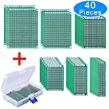 AUSTOR 40 Pieces Double Sided PCB Board Prototype Kit, 6 Sizes Circuit Board Universal Prototype Board with Free Box, for DIY Soldering and Electronic Project
