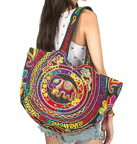 Trade Fair Fashion (Tribe Azure Colorful Floral Women Boho Fashion Shoulder Tote Bag Large Roomy Comfortable School Books Laptop Market Casual (Red))