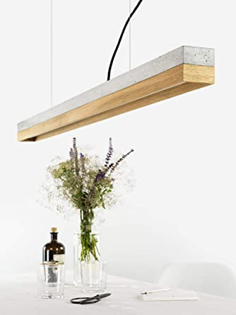 Premium Led Pendelleuchte Dimmbar L 112cm Beton Holz Modern Design