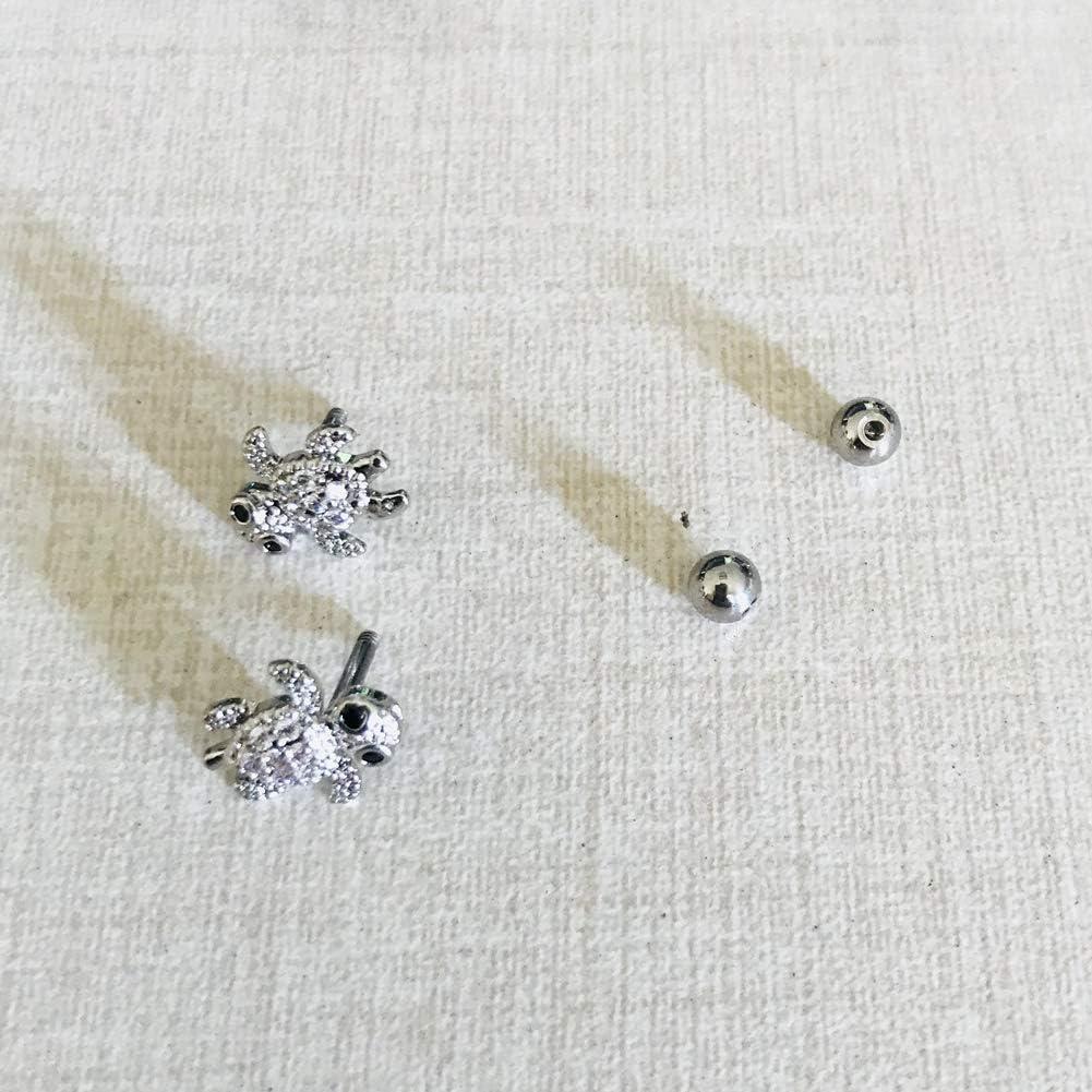 Boucles d Oreilles Femme Tortue Helix Piercing Tragus Acier Chirurgical Oreilles Cartilage Clou Boucle Doreille Bar 16G//18G Cadeau de Noel