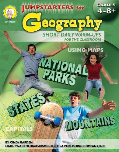 Jumpstarters for Geography, Grades 4 - 8 (Atlas With Latitude And Longitude And Cities)