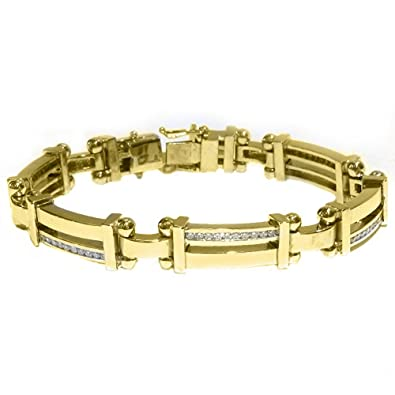 4b93ef5dbdc Amazon.com  14k Yellow Gold Mens Round Diamond Bracelet 2 Carats  Link  Bracelets  Jewelry