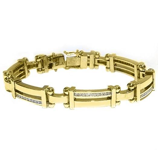 Amazon 14k Yellow Gold Mens Round Diamond Bracelet 2 Carats