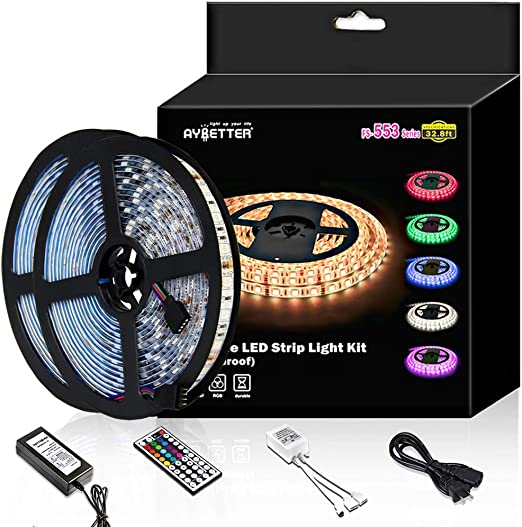 Daybetter Led Strip Light Waterproof 600leds 32 8ft 10m Waterproof Flexible Color Changing Rgb Smd 5050 600leds Led Strip Light Kit With 44 Keys Ir