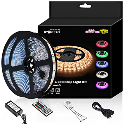 amazon com led strip light waterproof 600leds 32 8ft 10m waterproofled strip light waterproof 600leds 32 8ft 10m waterproof flexible color changing rgb smd 5050 600leds