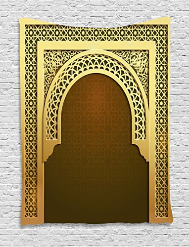 Moroccan Tapestry by Ambesonne, Middle Eastern Ramadan Greeting Scroll Arch Figure Celebration Holy Eid Theme, Wall Hanging for Bedroom Living Room Dorm, 40 W X 60 L Inches, Golden Brown