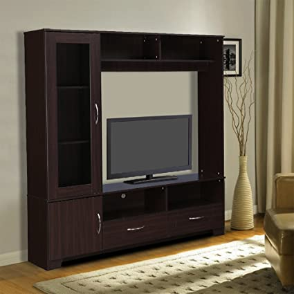a72839972a HomeTown Myra Engineered Wood TV Unit in Walnut Color: Amazon.in: Home &  Kitchen
