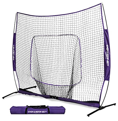 - PowerNet 8x8 XLP PRO Net with One Piece Frame (Purple) | Huge Baseball Softball Hitting Pitching Area | Great for Teams | Batting Fielding Portable Backstop | Non-Tip Weighted Base | 8 x 8 (64SqFt)