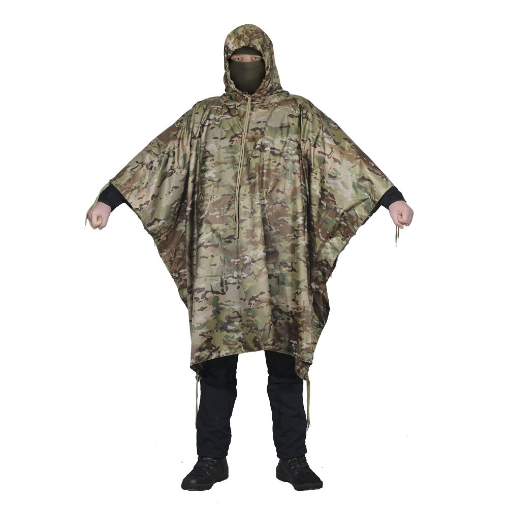 This woodland camo poncho would do a good job when it comes to concealment.  The generous size and length mean you can shove a lot of gear underneath it  or ... ef71d5c23
