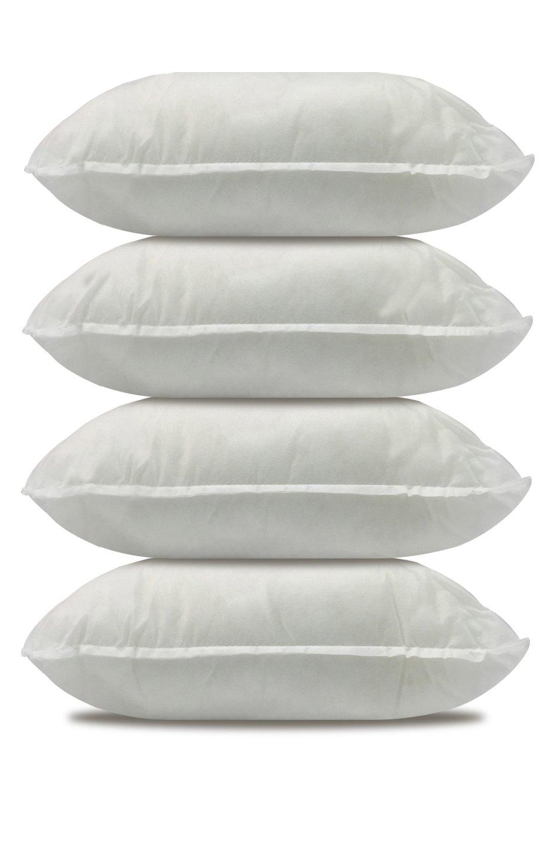 California Pillow, 18 x 18 , SET OF FOUR Premium Hypoallergenic EXTRA FIRM Throw Pillow Insert Stuffer Pillow Insert, White – MADE IN USA