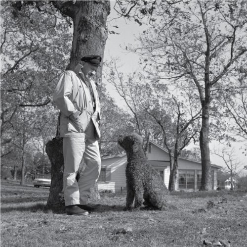 1962 Vintage Picture - John Steinback and Dog Charlie, 1962 - Vintage Photo Art Print (12