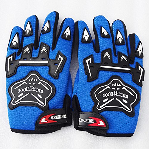 WPHMOTO Kids Full Finger Motorcycle Dirt Bike Riding Cycling Sports Gloves (L, Blue)