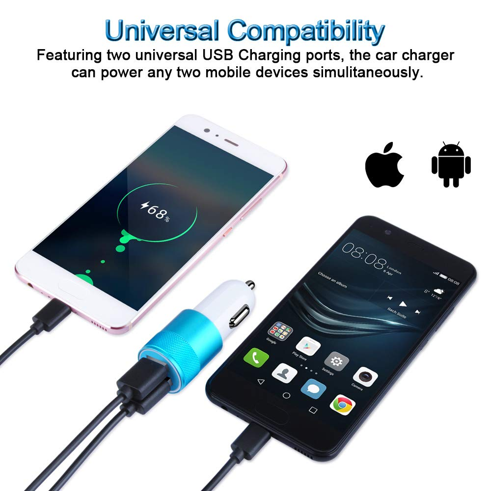 Blue iPad Air 2//Mini 3 Car Charger Note 9//Note 8//Galaxy S9//S8 2 Pack 3.4A Dual Port Car Charger Adapter Compatible for iPhone X//Xs //8//8 Plus //7// 6s // 6s Plus 5S 5 5C SE