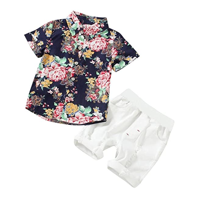 1e62bb508f Winsummer Infant and Toddler Baby Boys Kids Hawaiian Button Down Shirt and  Ripped Shorts Clothing Set