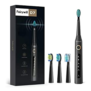 Electric Toothbrush Powerful Sonic Cleaning - ADA Accepted Toothbrush with Smart Timer 4 Hours Charge Minimum 30 Days Use 5 Optional Modes Whitening Toothbrushes for Adults with 3 Brush Heads Black