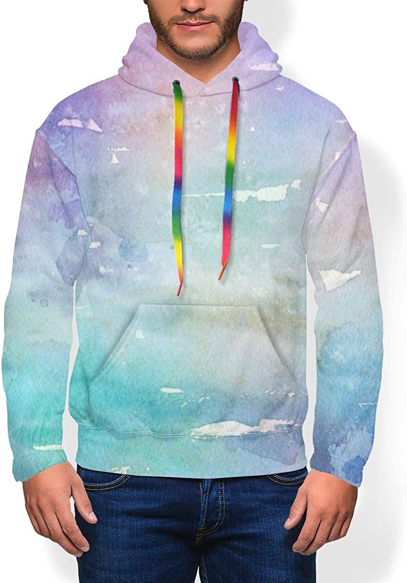 Colourful Water Blue Mens Thick and Velvet Hoodies