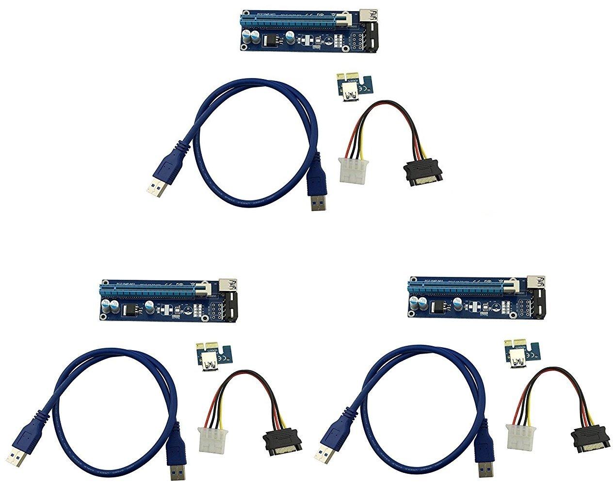 longxi 3 Pack Molex 4 pines Powered PCI-E PCI Express Riser –  ver 006S –  1 x A 16 x tarjeta adaptador –  PCIe USB 3.0 con 0, 6 m cable de extensió n USB&nbsp
