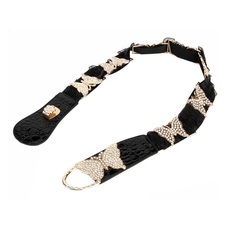 Mlotus Womens Wide Metal Rhinestone Lace Stretch Elastic Waist Belt Cinch Belts