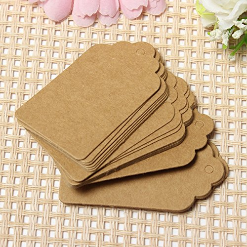 DCDEAL 100pcs Scalloped Kraft Paper Label Party DIY Gift Hang Tags Hand Draw Name Cards Blank Price Tags,2.75