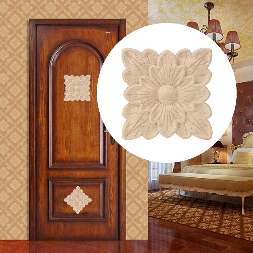 Duokon Apliques de Madera para el hogar 4 Piezas Hermoso patr/ón de Flores Apliques tallados en Madera Muebles Accesorios de decoraci/ón de Puertas de jard/ín