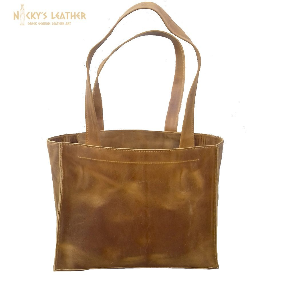 LEATHER TOTE BAG,Leather Shopping Bag from Real Full Grain Leather 100% Handmade