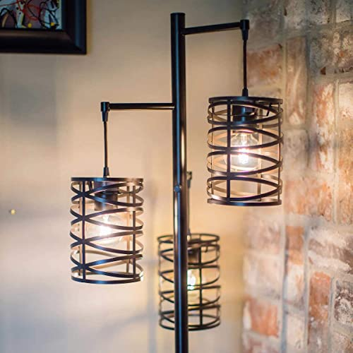 J.Hunt Home Brady 3-Arm Metal LED Floor Lamp Bronze 72″ Edison Style