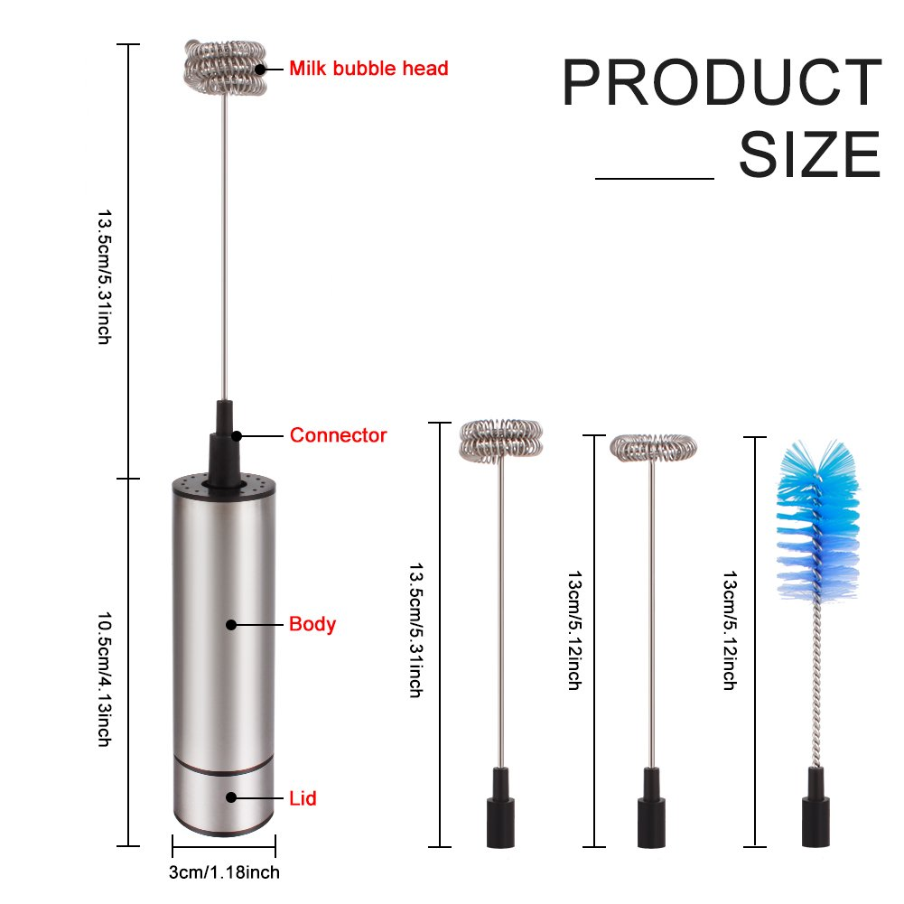 Hot Chocolate Electric Milk Frother /& Brush Handheld Battery Operated Electric Milk Foam Maker Coffee Frother Electric Whisk for Coffee Egg with 2 Extra Whisks STONG Cappuccino