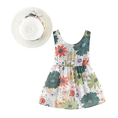 8b3ee2da5953 Amazon.com  Summer Newborn Infant Baby Girls Dresses Casual Floral ...