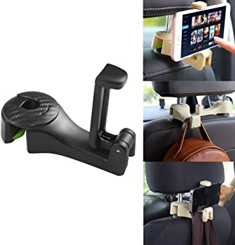 SPOVIEW 4 Pack Headrest Hook for Car,Thicken Car Hooks,Car Purse Hook,Headrest Car Hangers and Cup Holder