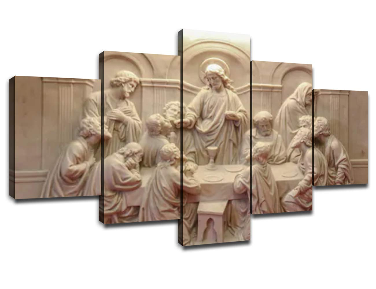 Jesus Last Supper Wall Decor for Living Room Pictures 5 Piece Canvas Prints Wall Art Christ Ultima Cena Paintings Bedroom Decoration for Home Poster Frame Christian Sculpture(60''Wx32''H)