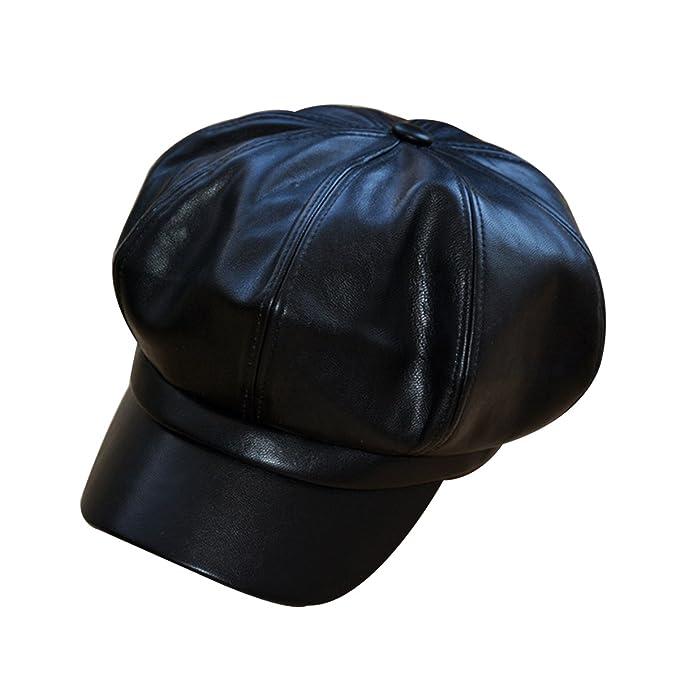 acebcbe20c549f Monique Children Women Vintage Newsboy Cabbie Hat Cap Wide Brim Beret Cap  Visor Hat Black