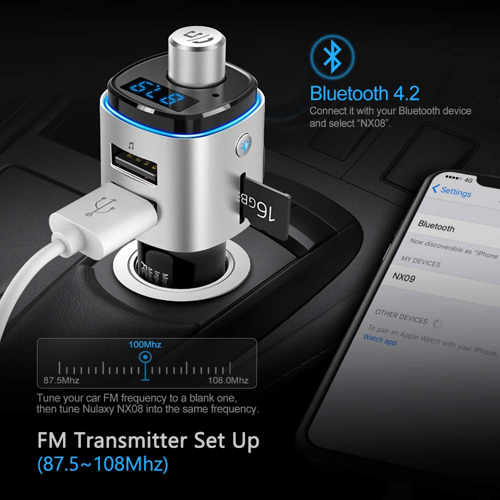 Bluetooth FM Transmitter for Car, Nulaxy Bluetooth Radio Adapter Wireless Car Kit with QC3.0 Charging, Rainbow LED Backlit, Support Siri/Google Now, USB Flash Drive, TF Card, Handsfree Calling - NX09 by Nulaxy (Image #7)