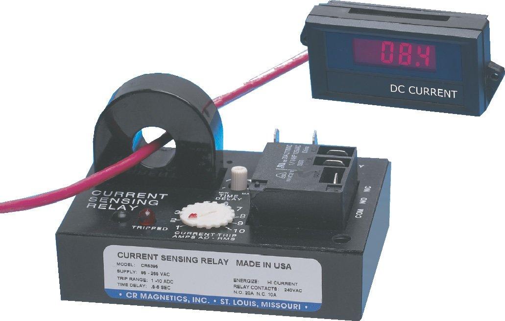 CR Magnetics CR5395-LH-24D-110-A-CD-ELR-I DC Current Sensing Relay with Internal Transformer, 24 VDC, Latch on High Trip, 1.0-10 ADC Trip Range, 0.5-6 Second Trip on Delay