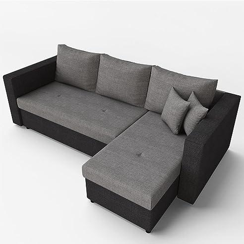 Ecksofa mit schlaffunktion grau  Ecksofa mit Schlaffunktion Grau Schwarz - Stellmaß: 224 x 144 cm ...