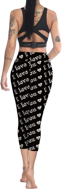 Anmevor Womens Yoga Workout Valentines Day Printed Soft Skinny Capri Pant Leggings