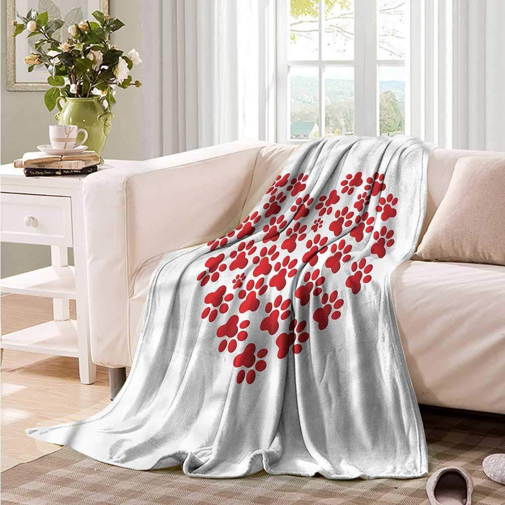 color10 60\ color10 60\ Oncegod Nap Blanket Cat Heart Shape Cat and Dog Paw Super Soft Cozy 60  W x 40  L