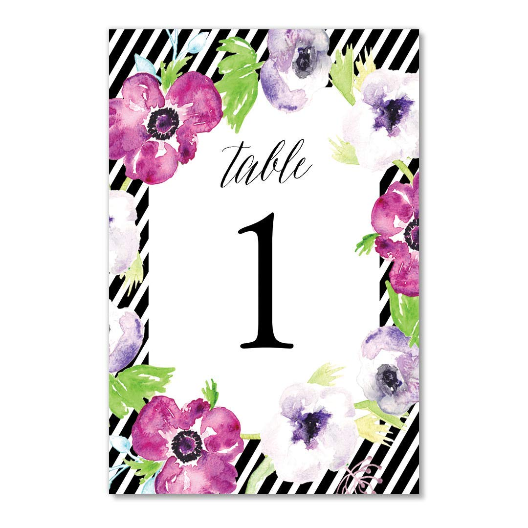Purple Floral Table Numbers Stripe Border 25 Pack All Occasion Centerpiece Accessories Graduation Wedding Anniversary Office Coworker Retirement Decorations Single Sided 4