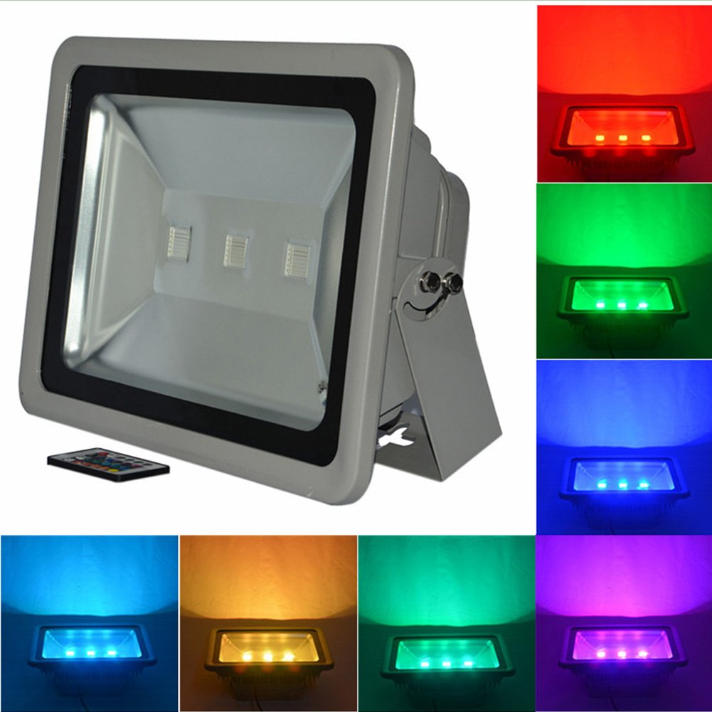RSN LED RGB Flood Light Color Change AC85-265V with IR Remote Controller 150W High Power IP65 Waterproof 2 Years Warranty