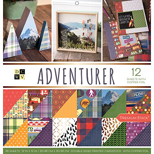 American Crafts Card Stock Adventurer Premium Printed Cardstock Stack, (12x12 Printed Double Sided Cardstock)
