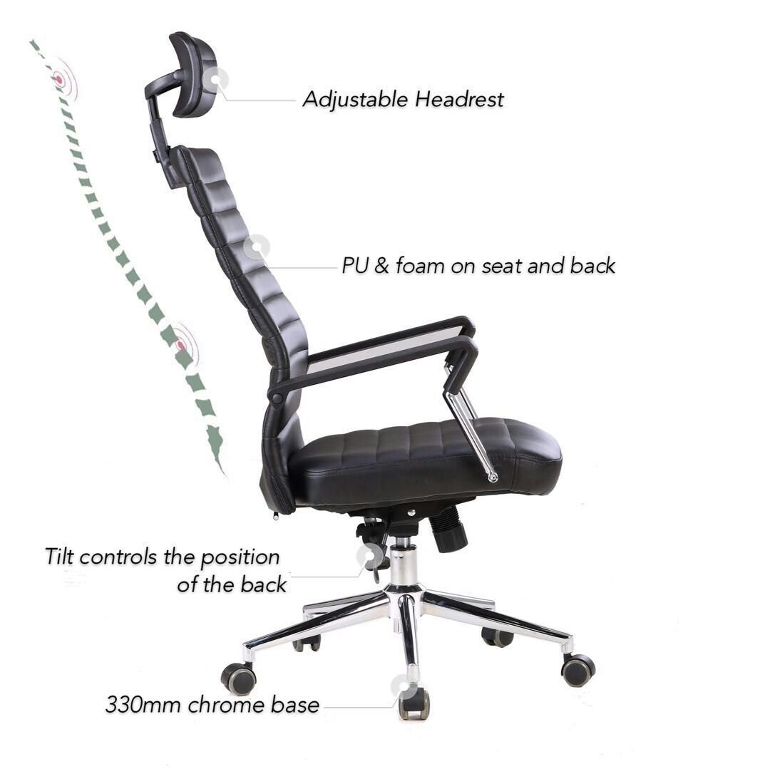 office chair controls. X-Office Executive PU Leather Computer Office Chair Black Desk With High Back And Adjustable Headrest,Reclining Accent Tilt Lock Controls