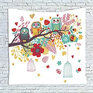 Colorful Lovely Owls on the Tree Pattern Children's Room Tapestry Wall Hanging,Wall Art,Beach Throw,51x59inch