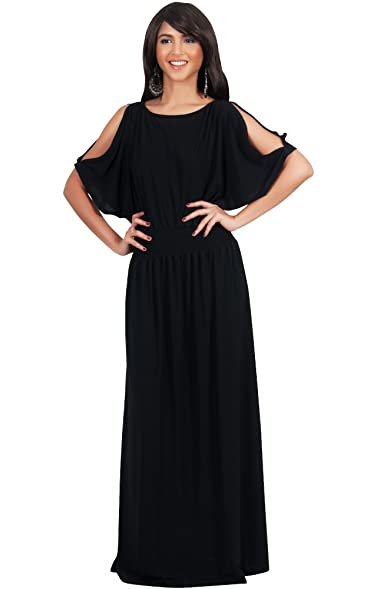 Maxi black dresses with sleeves