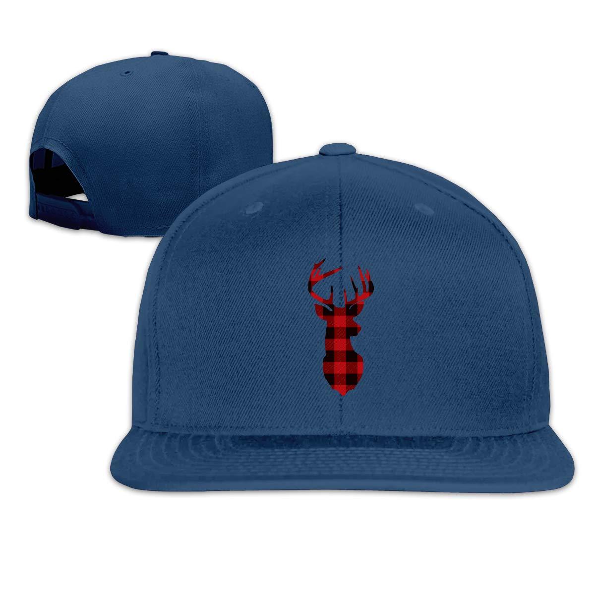 MOCSTONE Unisex Snapback Hat Buffalo Plaid Deer Adjustable Baseball Cap