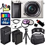 Sony Alpha a6000 Mirrorless Digital Camera with 16-50mm Lens (Silver) + Battery + Charger + 64GB Bundle 6 - International Version (No Warranty)