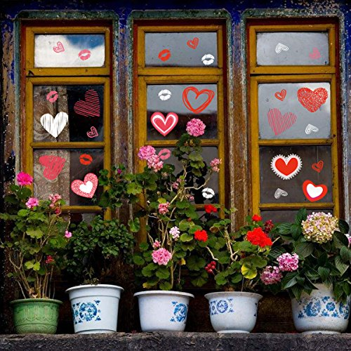 (Cualfec Valentine's Day Window Clings Valentine's Day Decoration Heart Clings for Valentine Party Favors and Party Decorations )