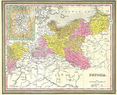 Prussia, Germand Map Mitchell 1850 - Medium - Semi Gloss (1850 Mitchell Map)